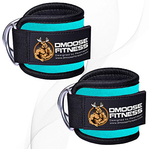 DMoose Fitness Ankle Strap for Cable Machines for Kickbacks, Glute Workouts, Leg Extensions, Curls, and Hip Abductors for Men and Women, Adjustable Neoprene Support (Cyan, Single)