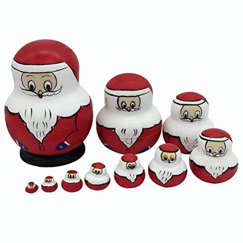 Healifty Russische Nesting Dolls Weihnachtsmann Matryoshka Holz Spielzeug Russische Puppen Klassische Babuschka Handmade Geschenk 10 Stück