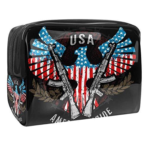 Kit de Maquillaje Neceser American Flag Eagle Gun Make Up Bolso de Cosméticos Portable Organizador Maletín para Maquillaje Maleta de Makeup Profesional 18.5x7.5x13cm