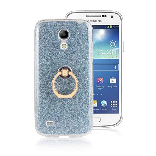 Sangrl Ring Funda para Samsung Galaxy S4 Mini / i9192, 360 Grados Giratorio Ring Grip Caso con Purpurina TPU de Silicona Suave Funda Case Azul