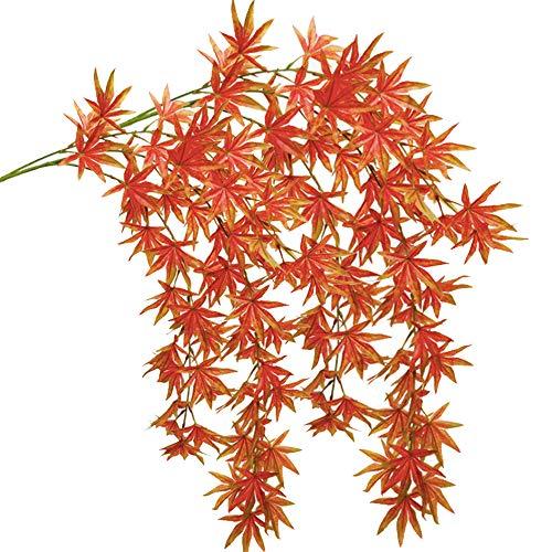 Aisamco 2 stuks kunstmatige herfst esdoornblad slinger hangende valse herfst verlaten wijnstokken snaren 110 cm lang in de herfst rode kleuren vallen bruiloft deurkozijn deur achtergrond open haard