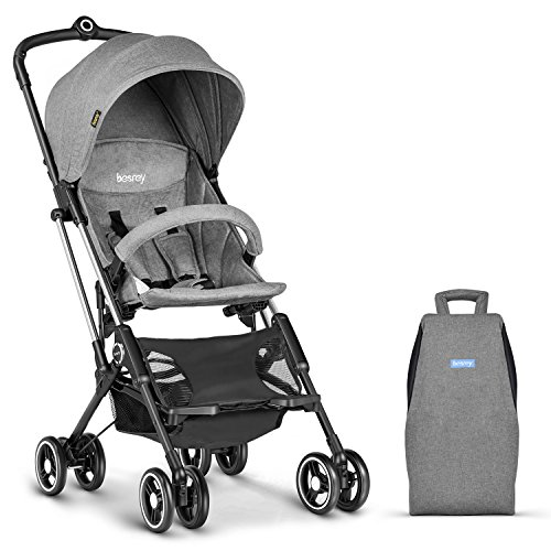 besrey Lightweight Stroller, Compact Travel Stroller for Kids and Infant 6-36 Months, Airplane Friendly and Easy One Hand Fold Feature (Gray)