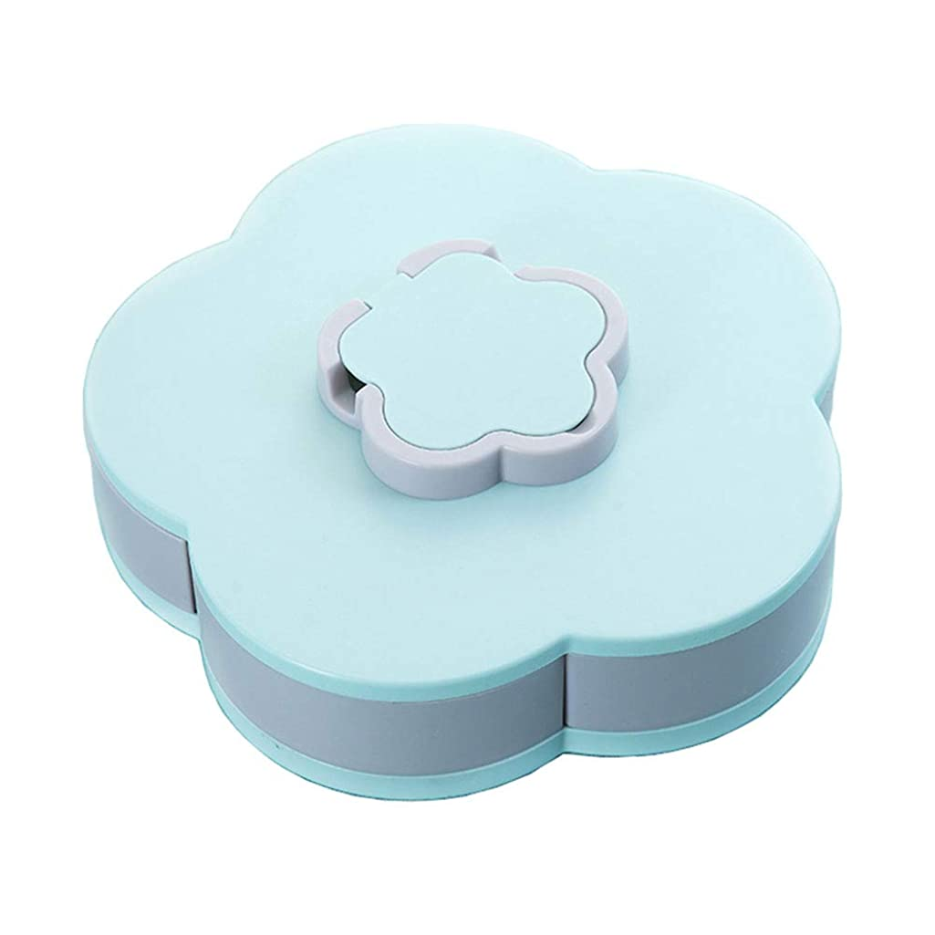 Rotatable Party Snacks Serving Tray Appetizer Plates Snack Bowls Multi Sectional Snack Bowl Trays Container Box for Storing Dried Fruits, Nuts, Candies, Fruits (Blue)