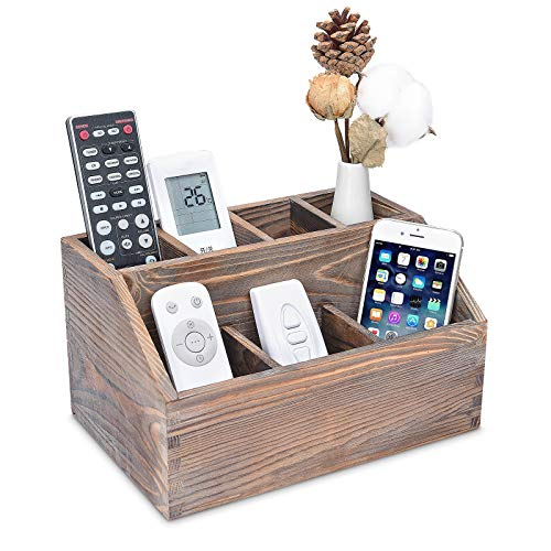 Rustic Remote Control Holder 7 Compartments Remote Caddy Wooden Desktop Organizer for Store TV/DVD/BluRay/Media Player/Heater Controllers