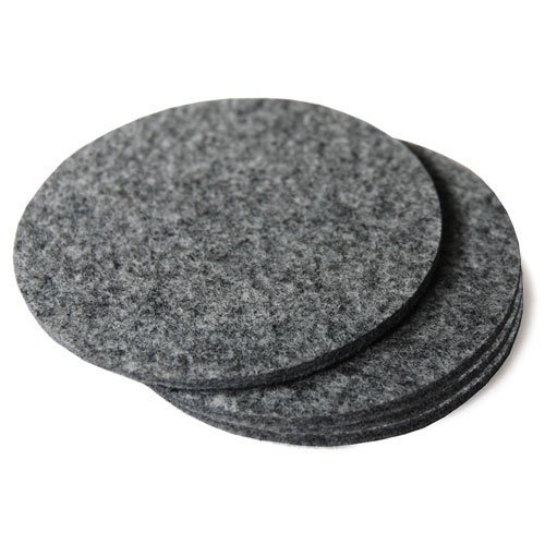 FELT COASTERS 4 INCH DIAMETER, NATURAL GRAY (4 PCS) by The Felt Store