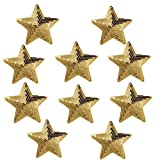Ximkee Pack of 10 Shiny 5 Star Sequins Sew Iron on Applique Embroidered Patches-Gold