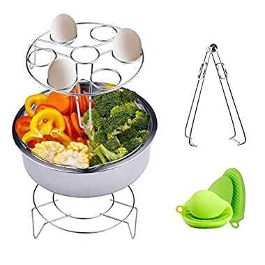 Instant Pot Accessories Steamer Basket Rack Set Includes Egg Steamer Rack Trivet, Steamer Rack, Bowl Dish Clip and 1 Pair Silicone Mitts Fits Instant Pot 5,6,8 quart Pressure Cooker,5 Pcs Set