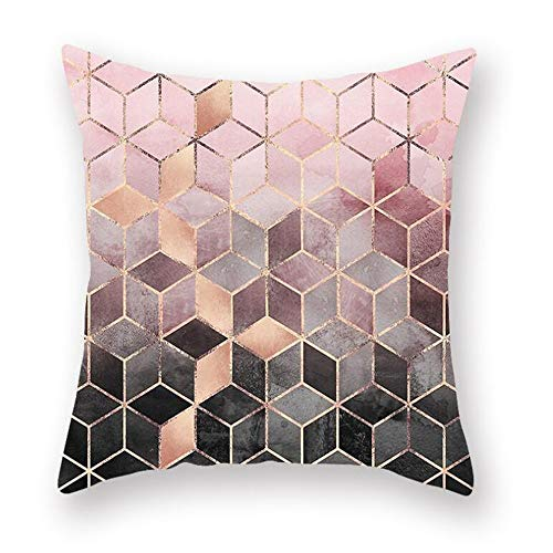 Throw Pillow Covers 18x18 inch, Rose Gold Powder Plaid Throw Pillow Case,Decorative Cushion Cases Luxury European Cushion Case, Decorative Pillows for Couch Living Room Bedroom Car