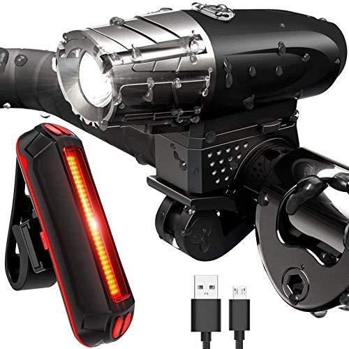 Sendowtek Luces Bicicleta Delantera y Trasera, Luz Bicicleta Recargable USB, Linterna Bicicleta IPX5 Impermeable con 4 Modos, Luz LED...