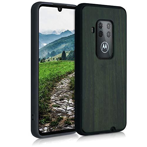 kwmobile Bumper Schutzhülle kompatibel mit Motorola One Zoom - Hülle - Holz Handy Hülle Cover Dunkelgrün