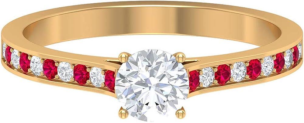 0.6 CT HI-SI 5 ☆ very popular Diamond Solitaire Ring Sidestone Red wholesale Gemstone