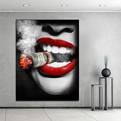 Sanzangtang Maak grote mooie lippenvrouw met sigarettenschilderij plakkaat muurkunstschilderij voor de woonkamerobdakloos frameloze DAR