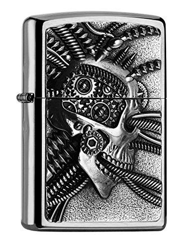 Zippo PL Cyberpunk Skull Feuerzeug, Messing, Edelstahloptik, 1 x 3,5 x 5,5 cm