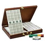 Mini Mahjong 146 Azulejos de Mahjong con acrílico de Madera Caso del Recorrido de la Familia Tiempo Libre Tradicional China versión del Juego (Color : Silver, Size : 40x31x23MM)