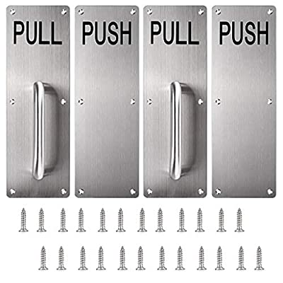 Sumnacon 12 inch Stainess Steel Door Handle Pull and Push Plate Silver Brushed 2 Sets-for Home/Office/Warehouse/Public Places/Commercial Places and Suitable of Wooden/Composite Door with Screws