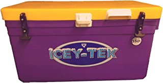ICEY-TEK Classic 55 Quart Cooler - Long Box Style Ice Chest (Purple and Yellow)