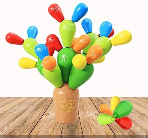 DQTYE Bloques de Construcción de Cactus de Equilibrio de Madera Juguetes de Ensamblaje Plantas de Apilamiento Juegos de Construcción de Árboles Decoración de Juguetes Creativos DIY