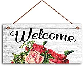 BESTWD Welcome Sign, Shabby Chic Floral Design, Rustic Decor, 5
