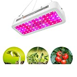 Lámpara de cultivo LED, lámpara de cultivo de espectro completo de 600 vatios, 2 ventiladores con vidrios de luz de crecimiento, cuerda de acero inoxidable para tienda de cultivo/planta de interior