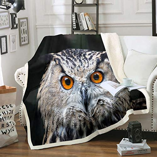 Owl Sherpa Blanket 3D Animal Pattern Fleece Throw Blanket for Sofa Couch Bed Cute Owl Bird Decor Plush Blanket Wildlife Style Warm Fuzzy Blanket Single 50'x60'