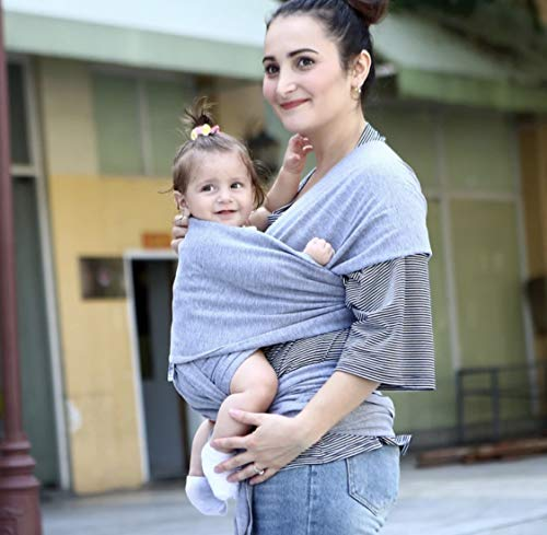 BULBA | Natural Premium Baby Sling | Eco Friendly Carrier | Organic Cotton Wrap | Toddlers Newborns Infants | Breathable Comfortable Soft Breastfeeding Cover (Grey)