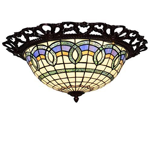Tiffany Style plafondlamp, Retro Stained Glass Ronde plafondlamp, Modern LED plafond verlichtingsarmaturen voor Slaapkamer Woonkamer Keuken Hal, 16 inch,6000k