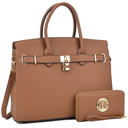 MMK Collection Satchel Padlock handbag~Work Briefcase Handbag~Perfect Christmas Gift~Beautiful Tote bag for all season (NEW-03-1006-W-PP)