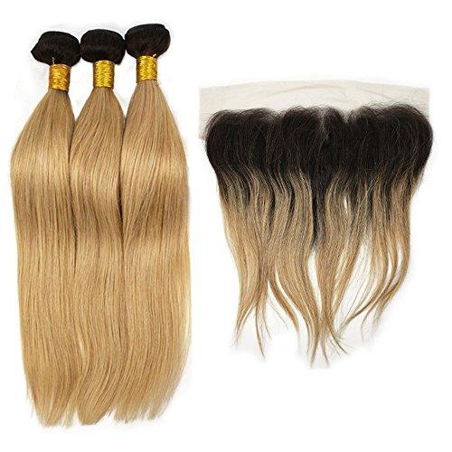 Mila 3pc Ombre 1B/27# Honigblond Brasilianisches Echthaar Weaving Tressen mit Lace Frontal Glatt Style Honey Blonde 100% Human Hair Bundles (20'20'20'+14'frontal)