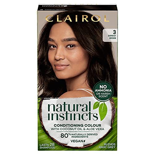 Clairol Natural Instincts Semi-Permanent No Ammonia Radiant At-Home Hair Dye, First Greys Coverage Up to 28 washes, Colour: 3 Dark Brown