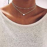 Jovono Collar con colgante de corazón en capas de plata con cuentas para mujeres y niñas, 14.5/15.4 inch(35/40CM), Aleación,