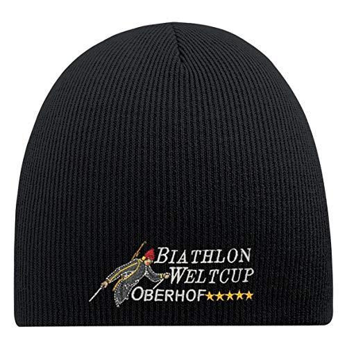 Fan-O-Menal Beanie-Mütze mit Einstickung - Biathlon WELTCUP OBERHOF - 54813 schwarz