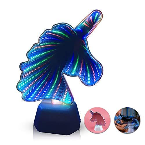 Unicornio/sirena 3D LED Luz de Túnel Iluminada Maquillaje Espejo Lámpara de Baño Infinito Túnel Luz de Noche Hogar Sala de estar Oficina Decoración (unicorn)