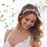SWEETV Bohemien Handgefertigt Haarschmuck Hochzeit Stirnbänder Diadem mit Perle Kristall, Gold