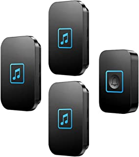 Wireless Doorbell, IP44 Waterproof Doorbells with 300M Range,1 Push Button And 3 Receivers with LED Flash,60 Ringtones,5 V...