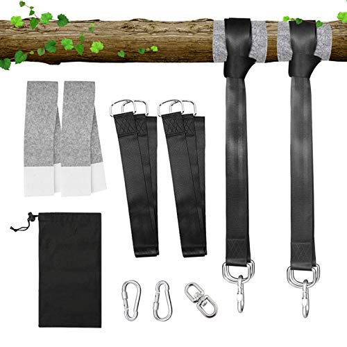 LITLANDSTAR Tree Swing Hanging Straps, 2 Pack 150 cm Long Outdoor Hammock Straps with 2 Heavy Duty Safety Lock Carabiner Hooks & 1 Rotating Ring for Tree Swing & Hammocks and Garden Swings