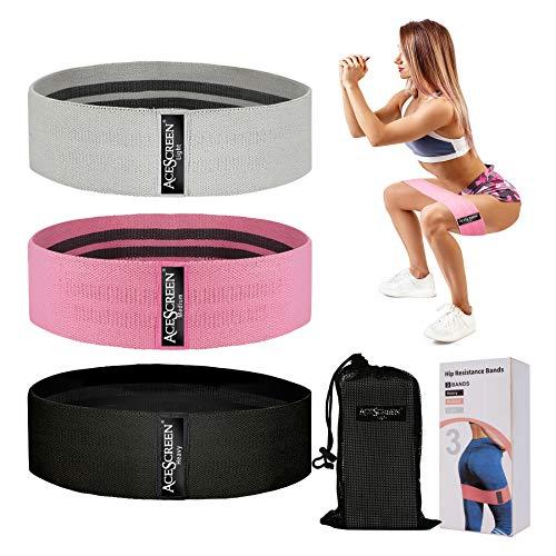 AceScreen Fitnessbänder [3er Set], Resistance Hip Bands Widerstandsbänder Set für Hüften, Hintern, Beine und Ganzkörpertraining, Gymnastikband Trainingsbänder Booty Band