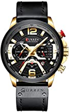 CURREN New Fashion Mens Watch Leather Luxury Brand Sports and Leisure Quartz Chronograph Waterproof Watch (Gold Black)