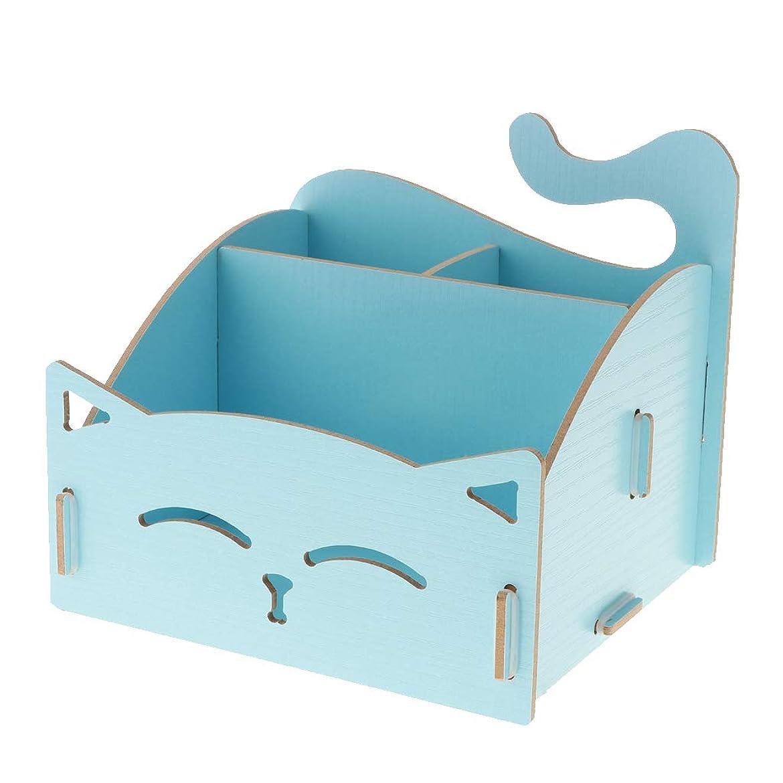 Sharplace デスクトップ DIY 猫型 リモコンラック DIY 木製 収納棚 小物入れ 卓上収納ケース - スカイブルー