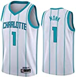 ZMIN Jersey de Baloncesto Charlotte Hornets # 1 Malik Monk Baloncesto Sin Mangas Camiseta, Jersey de Tela Comfort Vintage,Blanco,XL