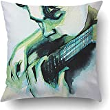 Throw Pillow Covers Aquarell Illustrated Portrait Junge Mann Gitarre Selbstgemachte Musik Paint Face...