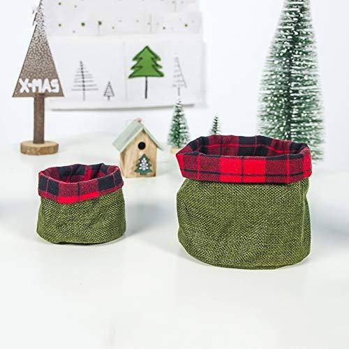 CAPOOK -2 Conjuntos de la víspera de Navidad de Tela Mini de Apple de Caramelo Cesta del almacenaje de decoración (Rojo) Festivo (Color : Green)