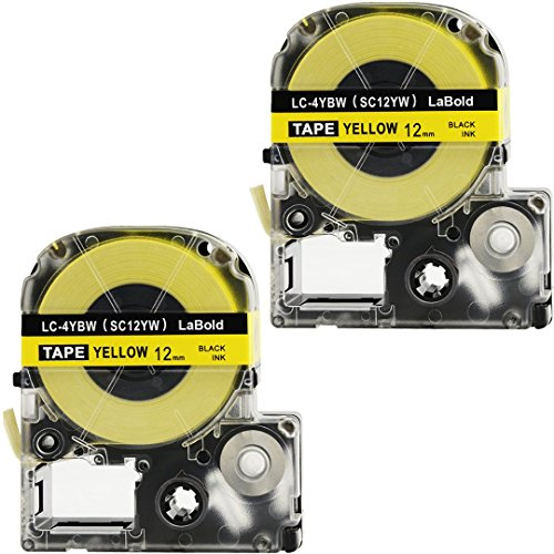 Replace Label Tape for Epson LC4YBW9 LC4YBW SC12YW LK4YBW, Refills Label Maker Cartridge Cassette, 1/2 Inch X 26.2 Feet (12mm Black on Yellow,2 Pack)