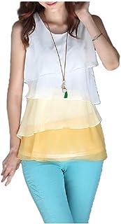 MogogN Women's Sleeveless Tank Top Chiffon Swing T-Shirt Blouse Top
