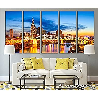 Proud Of Queen Nashville City Skyline Art Canvas Print Tennessee Downtown Skyline at Twilight USA Canvas Print Tennessee Large Canvas Print