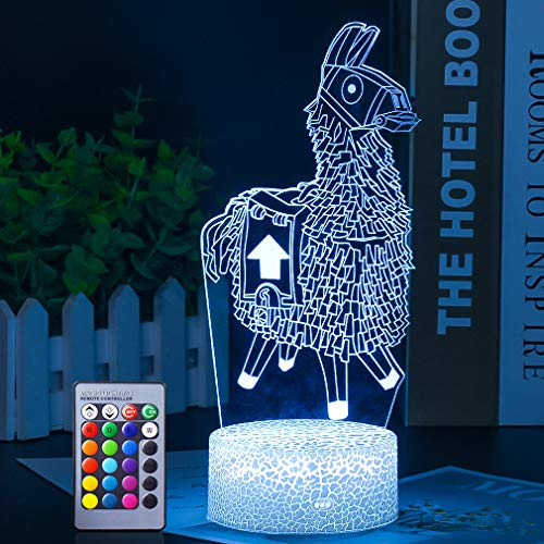 Lama 3D Illusionslampe Alpaka Nachtlicht Fernbedienung & 16 Farben 3D Visual Bulbing Lampe Ändern der 3D Illusionslampe Touch Switch Schlafzimmer Dekoration Beleuchtung