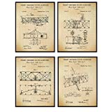 Wright Brothers Aviation Patent Art Prints - Vintage Wall Art Poster Set - Home Decor for Living Room, Office, Man Cave - Great Gift for Pilots, Flight Instructors, Aviators - 8x10 Photos - Unframed