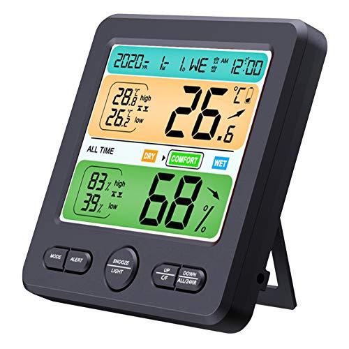 fantaxi Higrômetro digital, monitor de umidade e temperatura interna com função de relógio despertador Função de sonolência Termômetro De Sala Para Casa