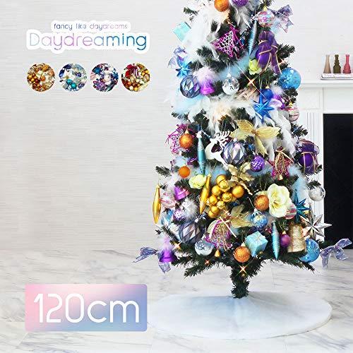 クリスマスツリー おしゃれ 北欧 120cm 高級 スリムツリー LED付き オーナメントセット ツリー スリム ornament Xmas tree daydream 1(キャラメル)