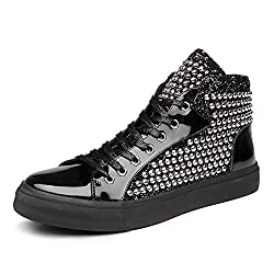 Fashion High-top Mirror Rivet Sequins In Black Shoe