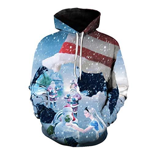 HEETEY Paar Mode Plus Size Weihnachten 3D Druck Langarm Sweatershirt Tops Weihnachtspullover Herren Hoodies Top Sweater Pulli Sweatshirt Weihnachtspulli weihnachtlichen Kapuzenpullover Mit Kapuze
